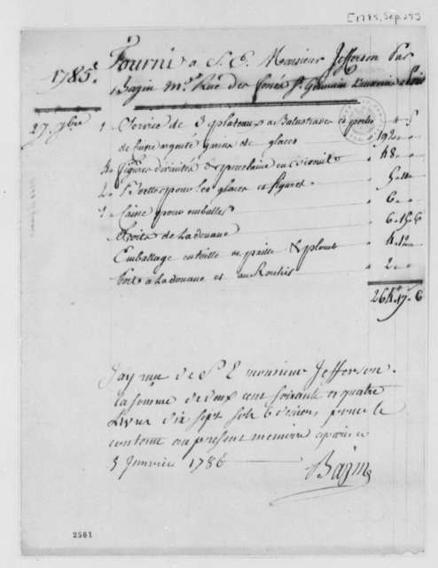 Bazin to Thomas Jefferson, September 27, 1785, Bill for Three Dessert Plates Ordered for Abigail Adams; in French