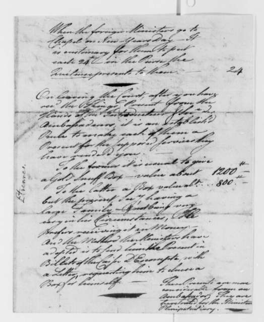 Benjamin Franklin, 1785, Expense Account for New Years Day Visit to Versailles