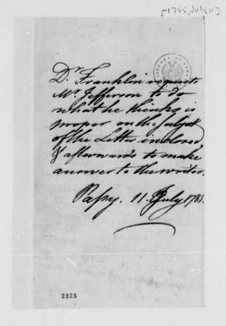 Benjamin Franklin to Thomas Jefferson, July 11, 1785