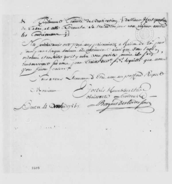 Borgnis Desbordes, Freres to Thomas Jefferson, November 4, 1785, Lister Asquith's Maritime Law Case; William & Catherine (ship); in French with Incomplete Copy