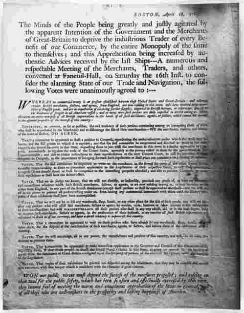 Boston, April 18, 1785. The minds of the people being greatly and justly agitated by the apparent intention of the government and the merchants of Great-Britain to deprive the industrious trader of every benefit of our commerce ... [Boston, 1785