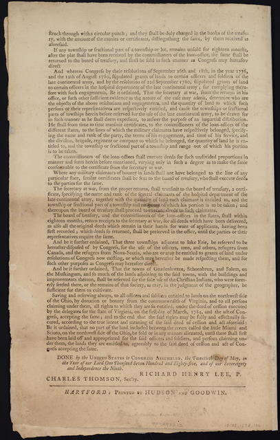 By the United States in Congress assembled. April 23, 1784 : Resolved, that so much of the territory ceded, or to be ceded by individual states, to the United States, as is already purchased, or shall be purchased, of the Indian inhabitants, and offered for sale by Congress, shall be divided into distinct states in the following manner ...