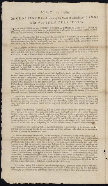 By the United States in Congress assembled. April 23, 1784 : Resolved, that so much of the territory ceded, or to be ceded by individual states, to the United States, as is already purchased, or shall be purchased, of the Indian inhabitants, and offered for sale by Congress, shall be divided into distinct states in the following manner, as nearly as such cessions will admit ...