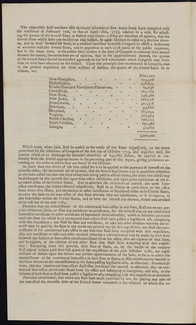 By the United States in Congress assembled, September 27, 1785 : The report of the grand committee being amended to read as follows, resolved, that for the services of the present year, one thousand seven hundred and eighty-five, for the payment of one year's interest on the foreign and domestic debt, and as a provision to discharge the balance of the estimate of April twenty-seventh, one thousand seven hundred and eighty-four ... it will be necessary that three millions of dollars ... be paid into the common treasury ...