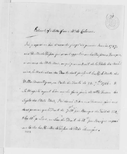Charles Alexandre de Calonne to Thomas Jefferson, 1785, American Whale Oil Trade; Extract in French