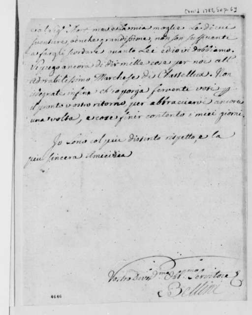 Charles Bellini to Thomas Jefferson, September 6, 1785, in Italian