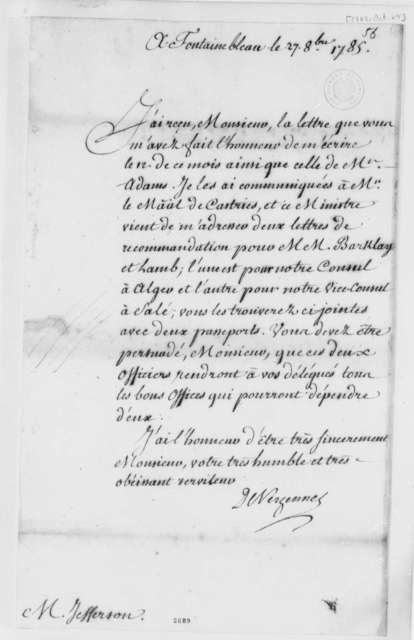 Charles Gravier, Comte de Vergennes to Thomas Jefferson, October 27, 1785, in French