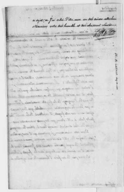 Charles, Marquis de Castries to Thomas Jefferson, August 12, 1785, with Copy