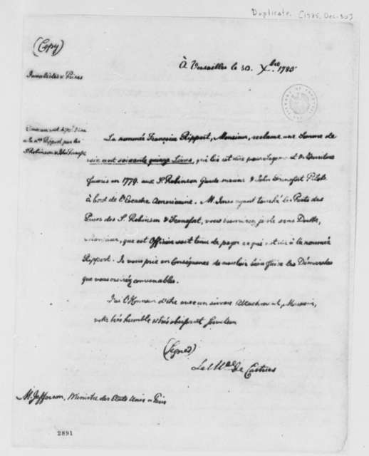 Charles, Marquis de Castries to Thomas Jefferson, December 30, 1785, with Copy