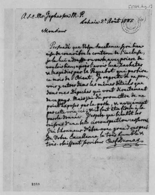 Charles William Frederic Dumas to Thomas Jefferson, August 2, 1785, in French