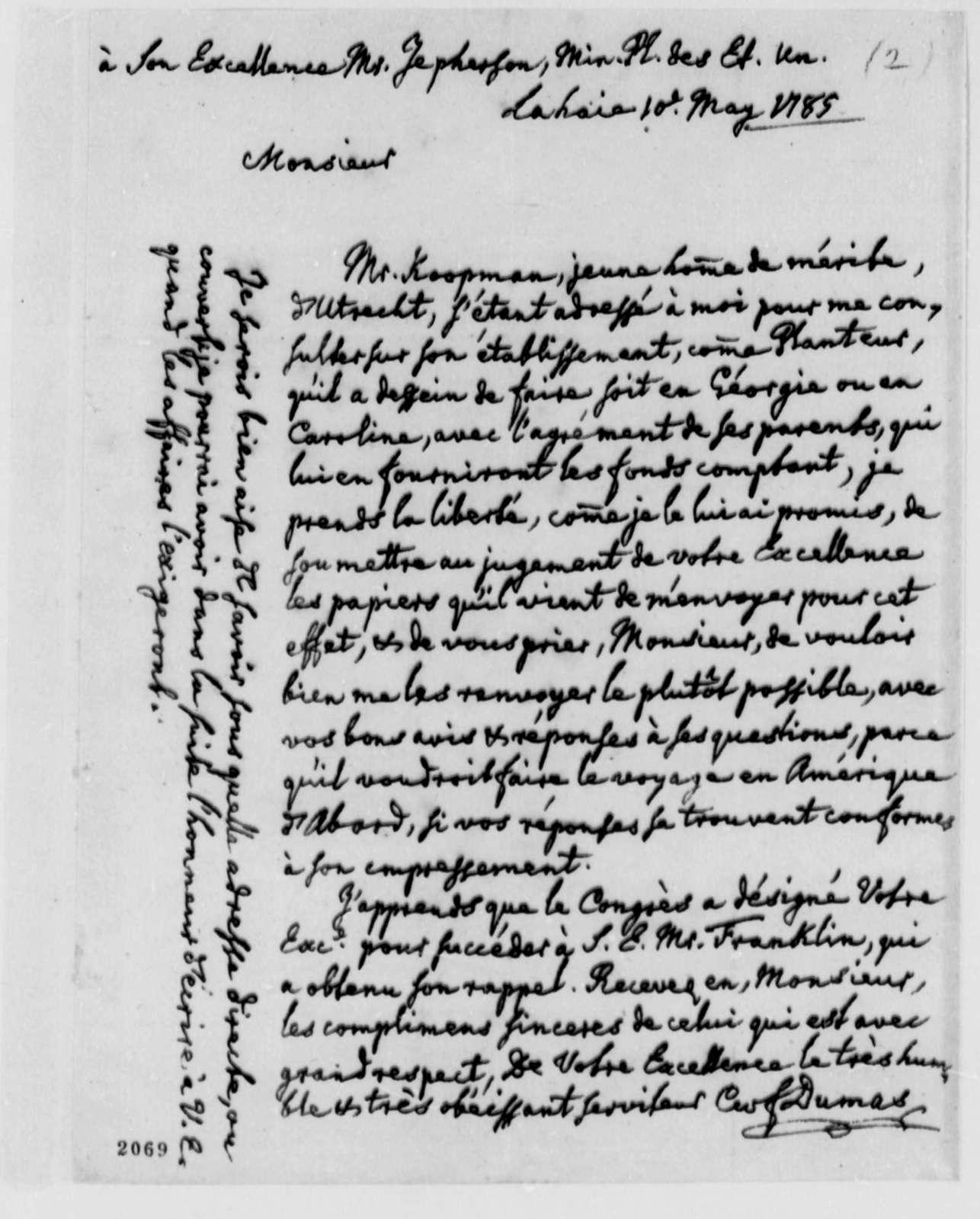 Charles William Frederic Dumas to Thomas Jefferson, May 10, 1785