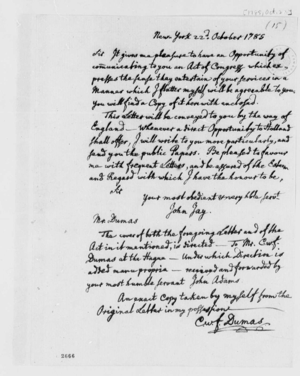 Charles William Frederic Dumas to Thomas Jefferson, October 22, 1785