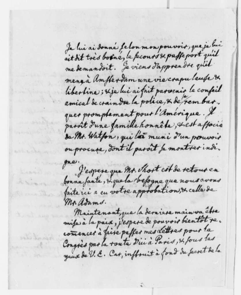 Charles William Frederic Dumas to Thomas Jefferson, September 28, 1785, in French