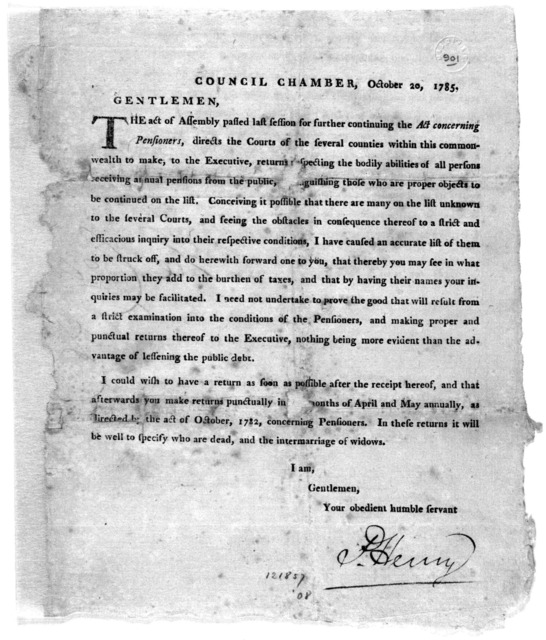 Council Chamber, October 20, 1785. Gentlemen. The act of Assembly passed last session for further continuing the Act concerning pensioners, directs the courts of the several counties within this commonwealth to make, to the Executive, returns re