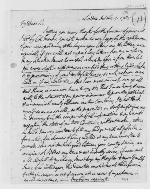 David Hartley to Thomas Jefferson, October 5, 1785