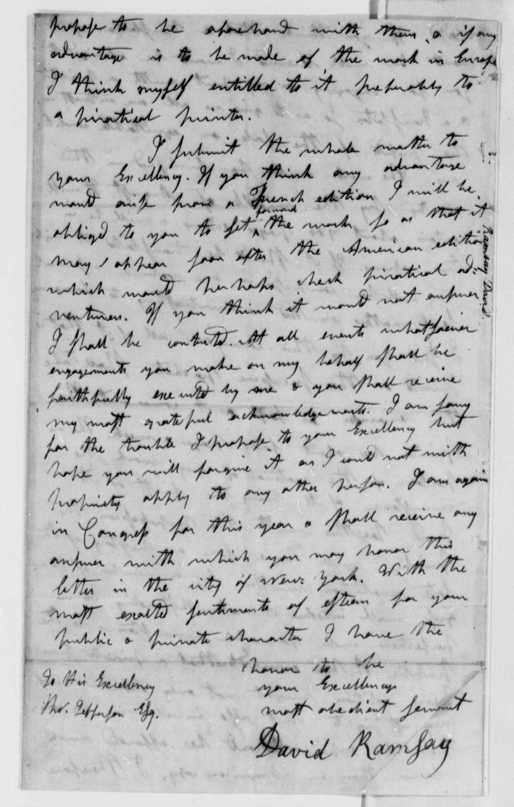 David Ramsay to Thomas Jefferson, June 15, 1785
