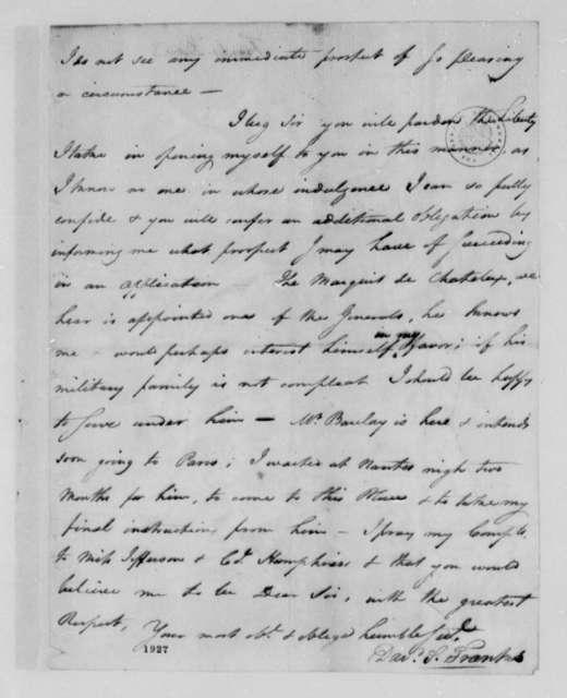 David S. Franks to Thomas Jefferson, January 1, 1785
