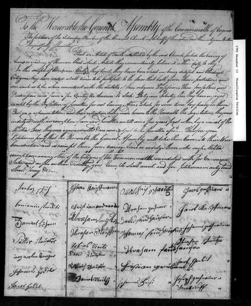 December 10, 1785, Miscellaneous, Menonist Church, for exemption from militia duty.