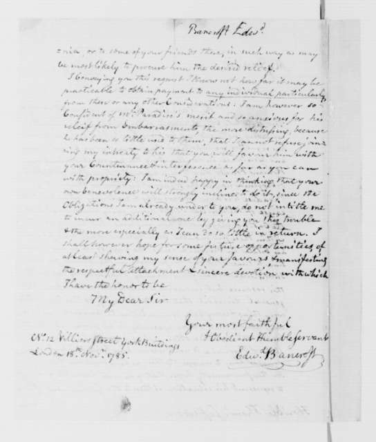 Edward Bancroft to Thomas Jefferson, November 18, 1785.