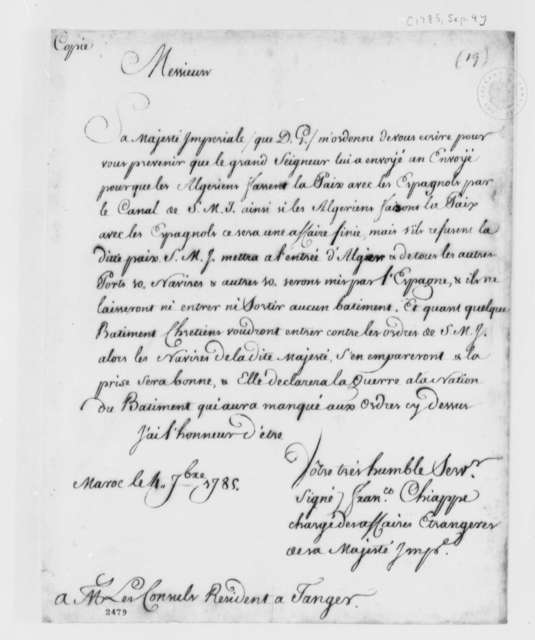 Francisco Chiappe to Resident Consuls in Tangiers, September 4, 1785, in French