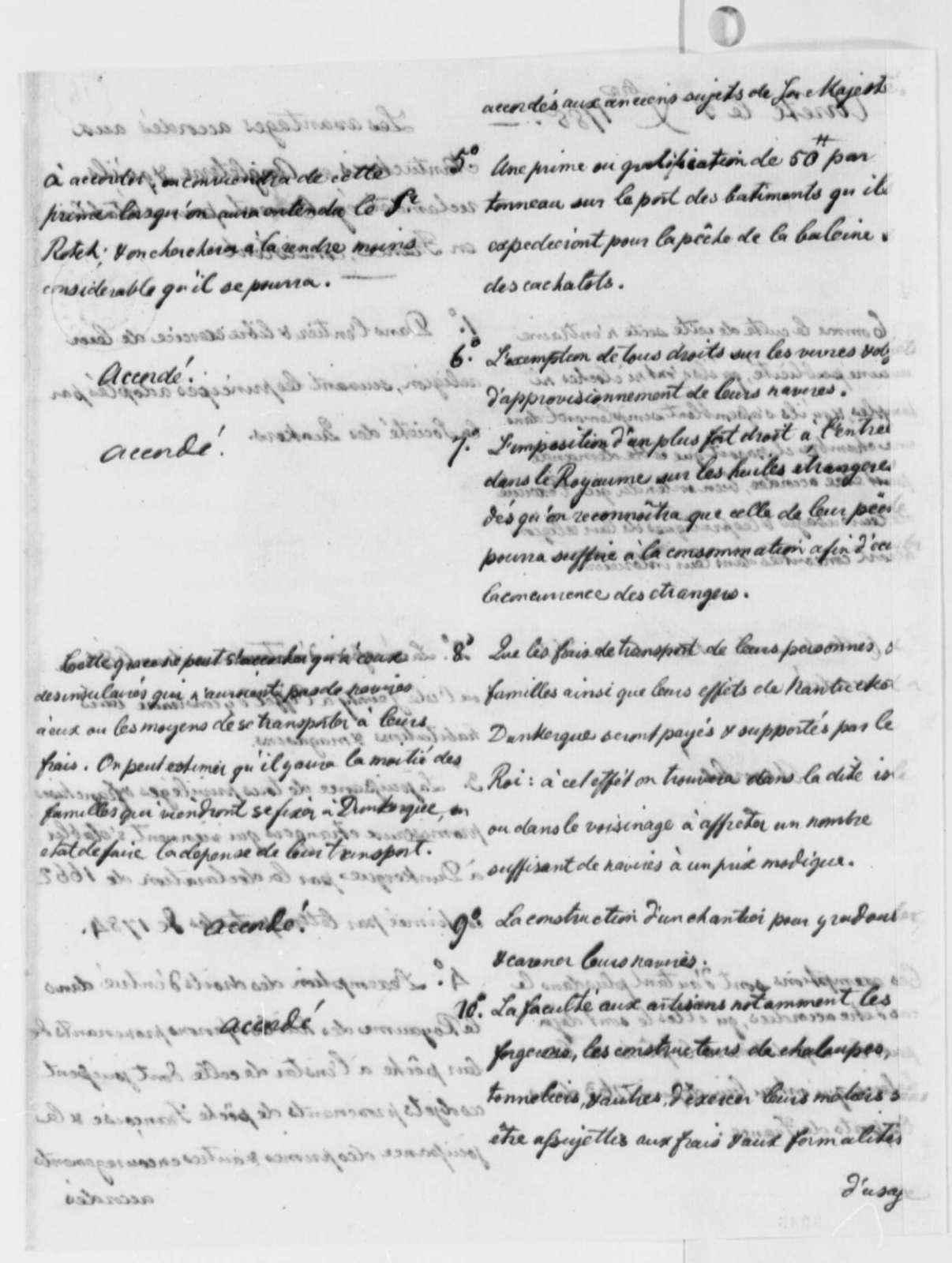"""Francois Rotch to """"le Controleur-general des finances"""", December 5, 1785, Memorial on Whale Fisheries; in French; with Arret and Copy"""