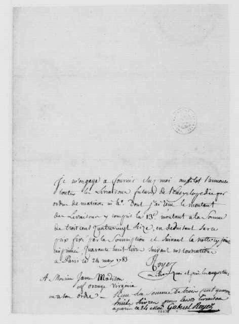 Gabriel Royez to James Madison, May 24, 1785. In French.