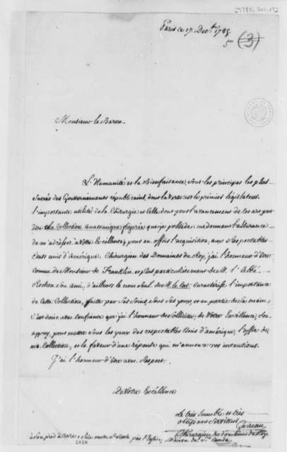 Garreau to Thomas Jefferson, December 17, 1785, Collection of Anatomical Paintings; in French with Statement