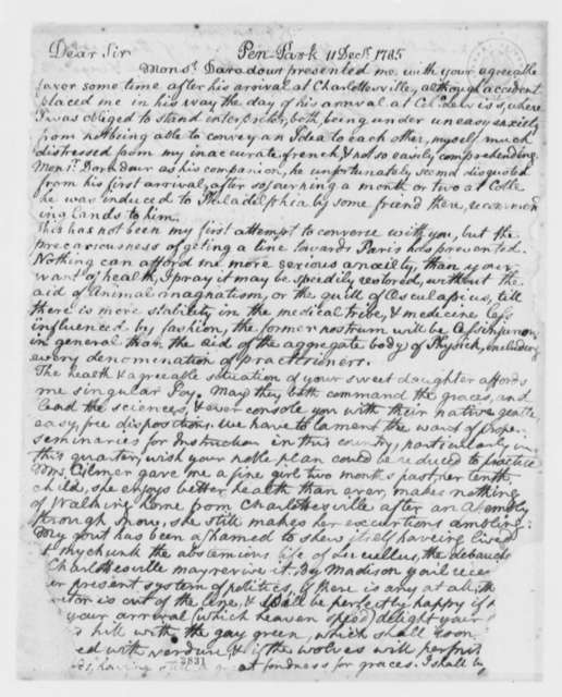 George Gilmer to Thomas Jefferson, December 11, 1785