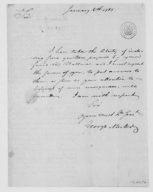 George Muter to James Madison, January 6, 1785. with Enclosure of Questions from Caleb Wallace.