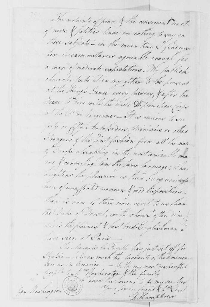 George Washington Papers, Series 4, General Correspondence: David Humphreys to George Washington, July 17, 1785