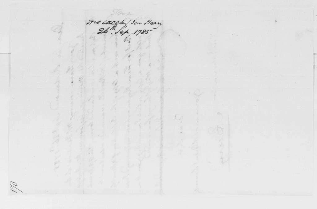 George Washington Papers, Series 4, General Correspondence: Patrick Henry to George Washington, September 26, 1785