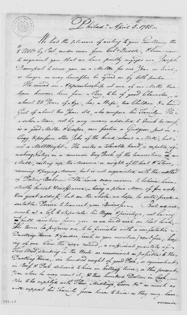 George Washington Papers, Series 4, General Correspondence: Robert Lewis & Sons to George Washington, April 5, 1785