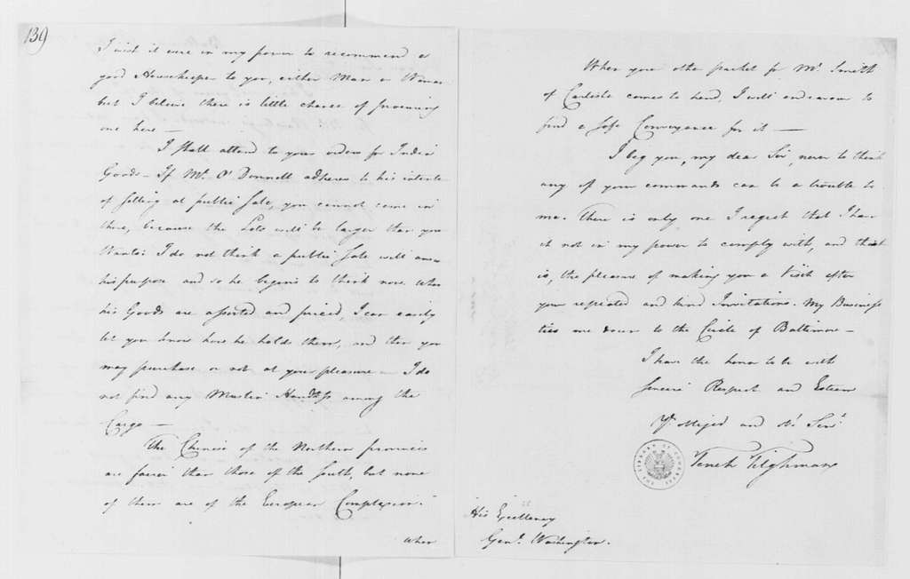 George Washington Papers, Series 4, General Correspondence: Tench Tilghman to George Washington, August 31, 1785