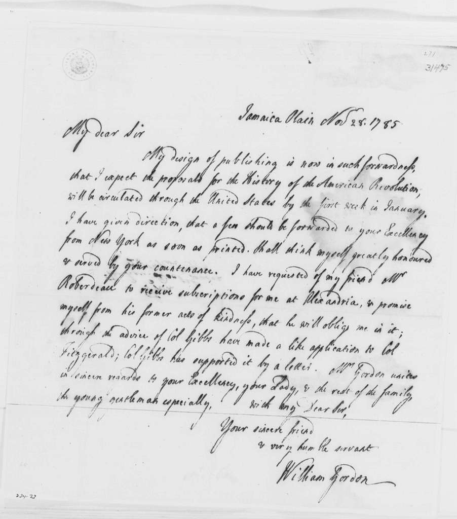 George Washington Papers, Series 4, General Correspondence: William Gordon to George Washington, November 28, 1785