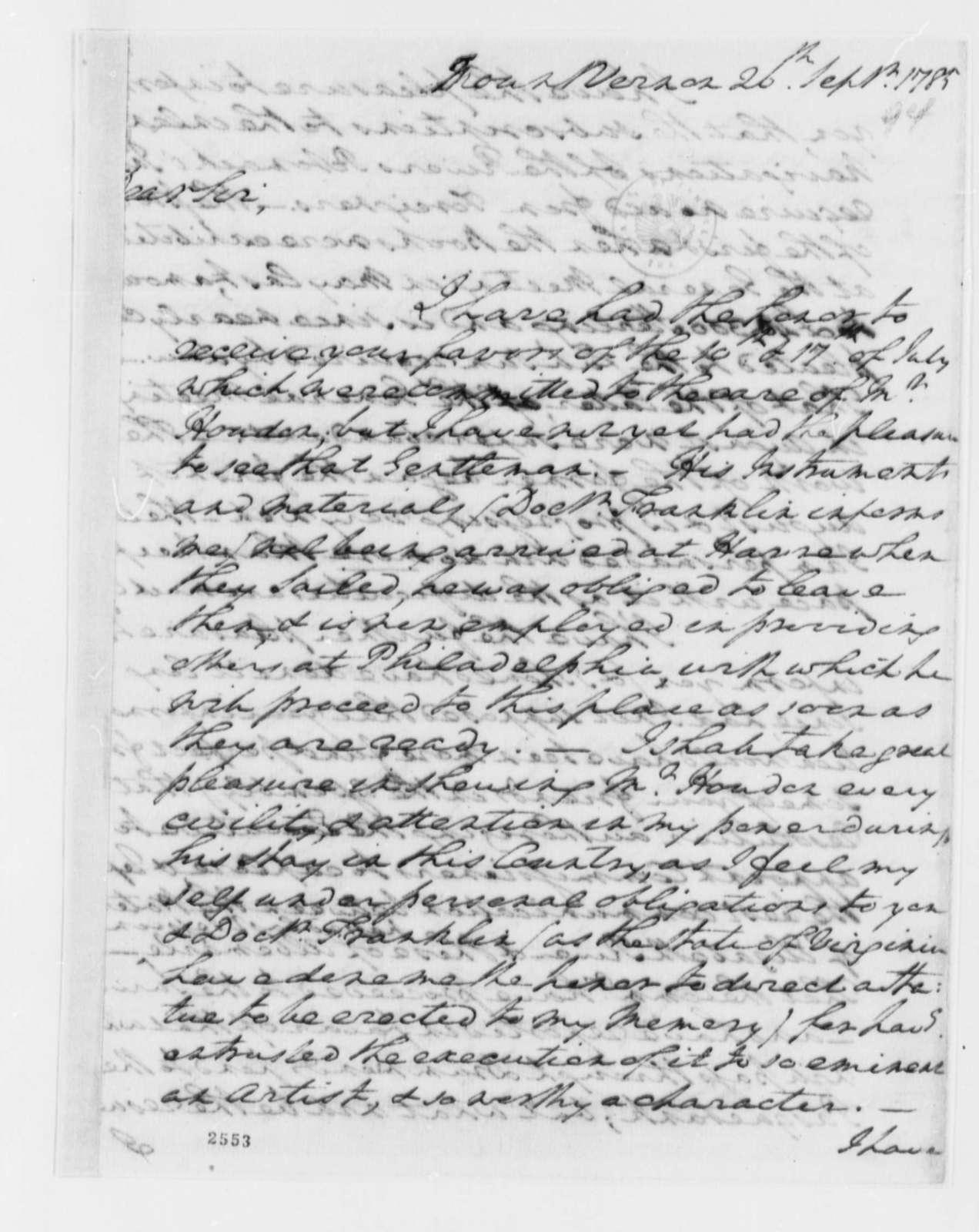 George Washington to Thomas Jefferson, September 26, 1785