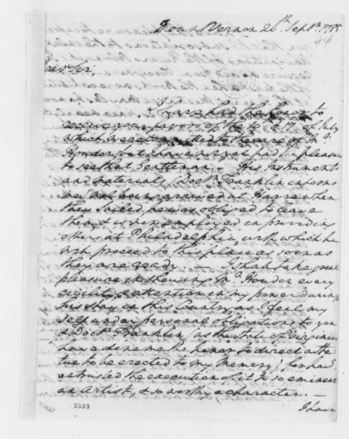 George Washington to Thomas Jefferson, September 26, 1785