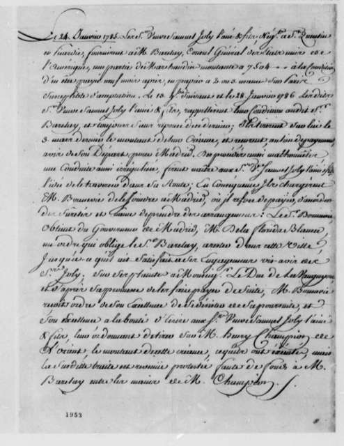 Henry Champion, January 24, 1785, Law Case Brought by Veuve Samuel Joly l'aine et fils to Collect Thomas Barclay's Overdue Debt; in French