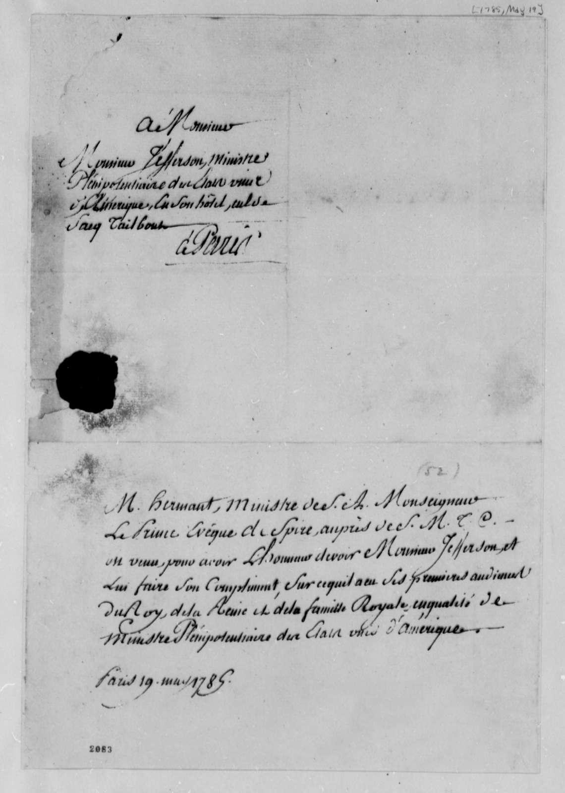 Hermant and Prince de Spire to Thomas Jefferson, May 19, 1785, in French