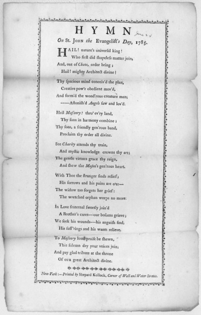 Hymn on St. John the Evangelist's day, 1785. New-York:--- Printed by Shepard Kollock, corner of Wall and Water Streets. [1785].