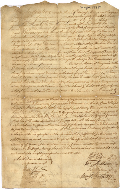 Indenture for the sale of land by the Louisville Board of Trustees to Daniel Brodhead Jr.