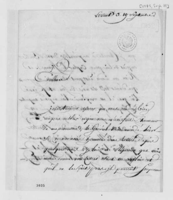 Isaac Barre to Thomas Jefferson, September 19, 1785, in French