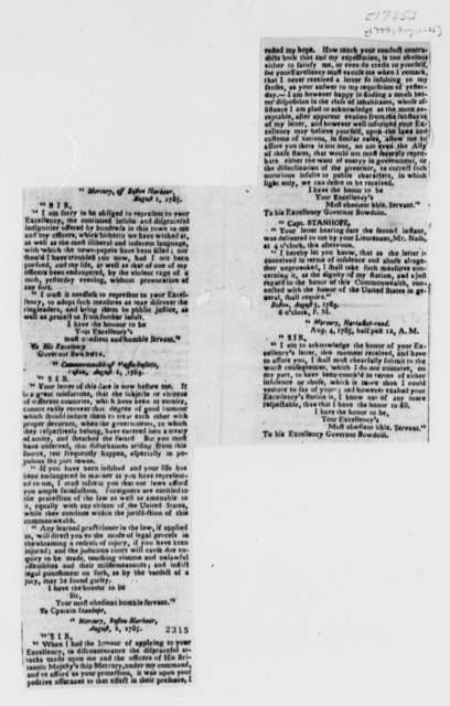 James Bowdoin to Henry Stanhope, August 1, 1785, Newspaper Clipping of Bowdoin's Letters to Stanhope, with Stanhope's Replies