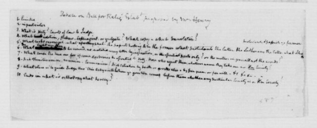 James Madison, October-November, 1785. Notes on Debate on Bill for Relig Estabt proposed by Mr Henry.