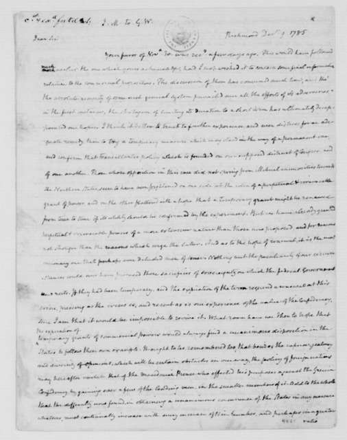 James Madison to George Washington, December 9, 1785.