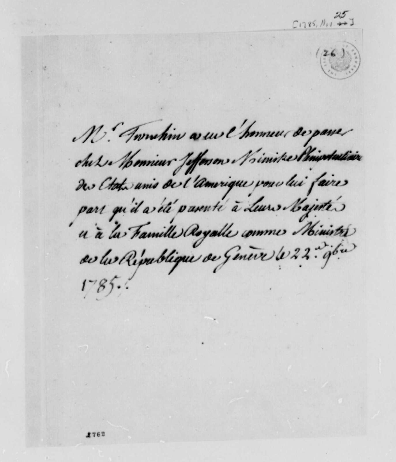 Jean-Armand Tronchin to Thomas Jefferson, November 25, 1785, in French