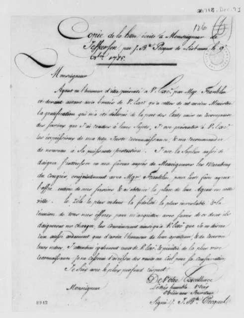 Jean Baptiste Pecquet to Thomas Jefferson, December 9, 1785, in French