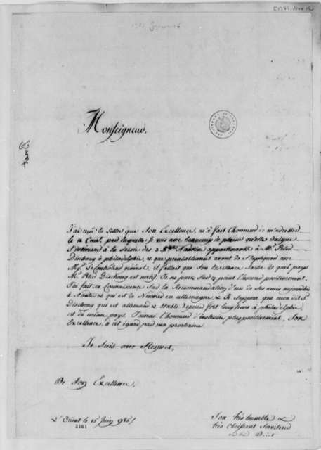Jean Francois Briet to Thomas Jefferson, June 15, 1785, in French