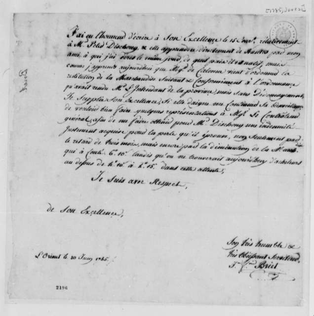 Jean Francois Briet to Thomas Jefferson, June 20, 1785