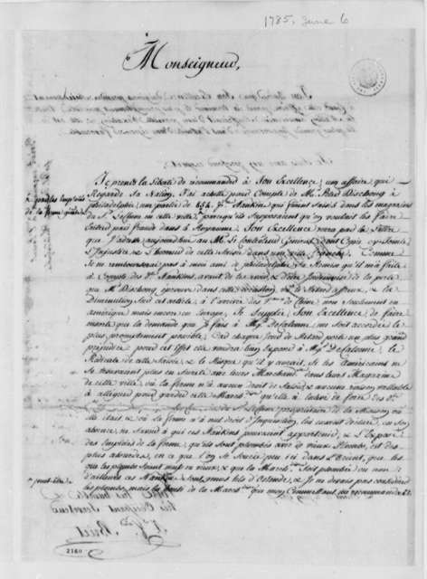 Jean Francois Briet to Thomas Jefferson, June 6, 1785, in French