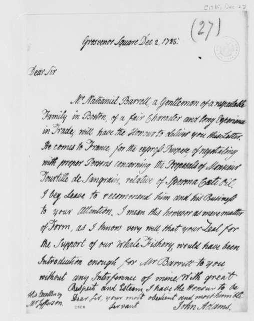 John Adams to Thomas Jefferson, December 2, 1785
